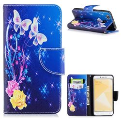 Yellow Flower Butterfly Leather Wallet Case for Xiaomi Redmi 4 (4X)