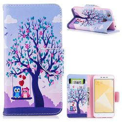 Tree and Owls Leather Wallet Case for Xiaomi Redmi 4 (4X)