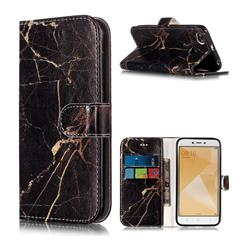 Black Gold Marble PU Leather Wallet Case for Xiaomi Redmi 4 (4X)