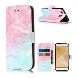 Pink Green Marble PU Leather Wallet Case for Xiaomi Redmi 4 (4X)