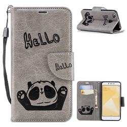 Embossing Hello Panda Leather Wallet Phone Case for Xiaomi Redmi 4 (4X) - Grey