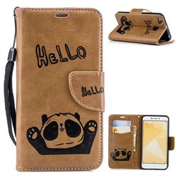 Embossing Hello Panda Leather Wallet Phone Case for Xiaomi Redmi 4 (4X) - Brown