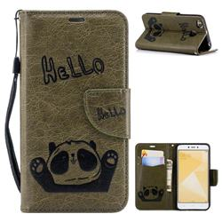 Embossing Hello Panda Leather Wallet Phone Case for Xiaomi Redmi 4 (4X) - Olive Green