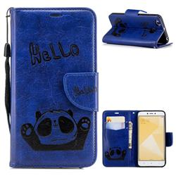 Embossing Hello Panda Leather Wallet Phone Case for Xiaomi Redmi 4 (4X) - Blue