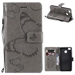 Embossing 3D Butterfly Leather Wallet Case for Xiaomi Redmi 4 (4X) - Gray
