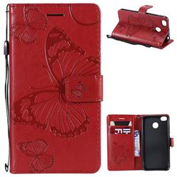 Embossing 3D Butterfly Leather Wallet Case for Xiaomi Redmi 4 (4X) - Red