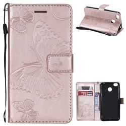 Embossing 3D Butterfly Leather Wallet Case for Xiaomi Redmi 4 (4X) - Rose Gold