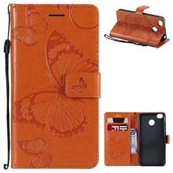 Embossing 3D Butterfly Leather Wallet Case for Xiaomi Redmi 4 (4X) - Orange