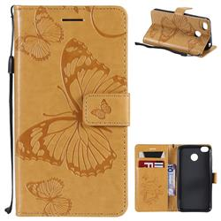 Embossing 3D Butterfly Leather Wallet Case for Xiaomi Redmi 4 (4X) - Yellow