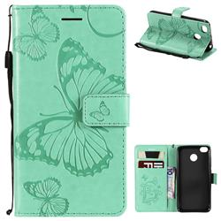 Embossing 3D Butterfly Leather Wallet Case for Xiaomi Redmi 4 (4X) - Green