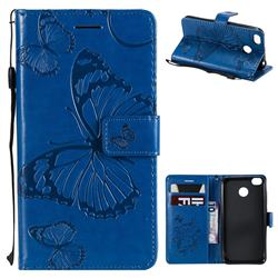 Embossing 3D Butterfly Leather Wallet Case for Xiaomi Redmi 4 (4X) - Blue