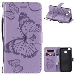 Embossing 3D Butterfly Leather Wallet Case for Xiaomi Redmi 4 (4X) - Purple