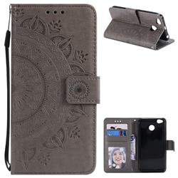 Intricate Embossing Datura Leather Wallet Case for Xiaomi Redmi 4 (4X) - Gray