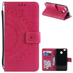 Intricate Embossing Datura Leather Wallet Case for Xiaomi Redmi 4 (4X) - Rose Red