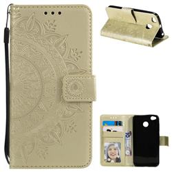 Intricate Embossing Datura Leather Wallet Case for Xiaomi Redmi 4 (4X) - Golden
