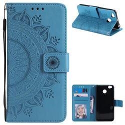Intricate Embossing Datura Leather Wallet Case for Xiaomi Redmi 4 (4X) - Blue