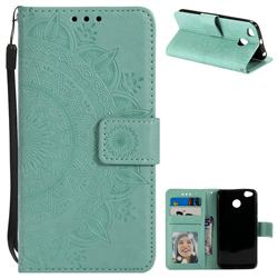 Intricate Embossing Datura Leather Wallet Case for Xiaomi Redmi 4 (4X) - Mint Green