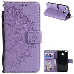 Intricate Embossing Datura Leather Wallet Case for Xiaomi Redmi 4 (4X) - Purple