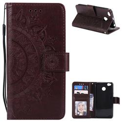 Intricate Embossing Datura Leather Wallet Case for Xiaomi Redmi 4 (4X) - Brown