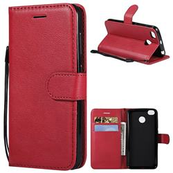 Retro Greek Classic Smooth PU Leather Wallet Phone Case for Xiaomi Redmi 4 (4X) - Red