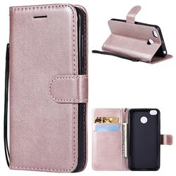 Retro Greek Classic Smooth PU Leather Wallet Phone Case for Xiaomi Redmi 4 (4X) - Rose Gold