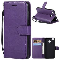 Retro Greek Classic Smooth PU Leather Wallet Phone Case for Xiaomi Redmi 4 (4X) - Purple