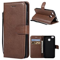 Retro Greek Classic Smooth PU Leather Wallet Phone Case for Xiaomi Redmi 4 (4X) - Brown