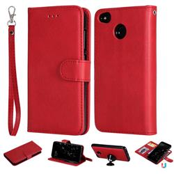Retro Greek Detachable Magnetic PU Leather Wallet Phone Case for Xiaomi Redmi 4 (4X) - Red