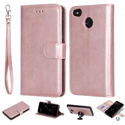 Retro Greek Detachable Magnetic PU Leather Wallet Phone Case for Xiaomi Redmi 4 (4X) - Rose Gold