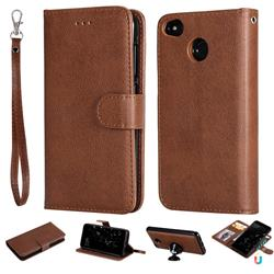 Retro Greek Detachable Magnetic PU Leather Wallet Phone Case for Xiaomi Redmi 4 (4X) - Brown