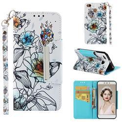 Fotus Flower Big Metal Buckle PU Leather Wallet Phone Case for Xiaomi Redmi 4 (4X)