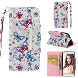 Colored Butterfly Big Metal Buckle PU Leather Wallet Phone Case for Xiaomi Redmi 4 (4X)