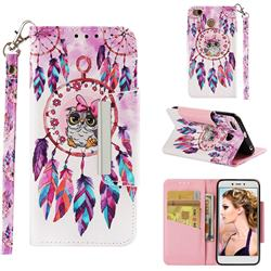 Owl Wind Chimes Big Metal Buckle PU Leather Wallet Phone Case for Xiaomi Redmi 4 (4X)