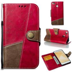 Retro Magnetic Stitching Wallet Flip Cover for Xiaomi Redmi 4 (4X) - Rose Red