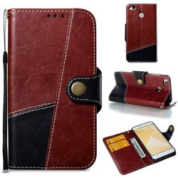 Retro Magnetic Stitching Wallet Flip Cover for Xiaomi Redmi 4 (4X) - Dark Red