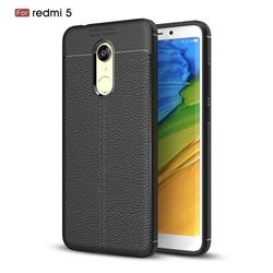 Luxury Auto Focus Litchi Texture Silicone TPU Back Cover for Mi Xiaomi Redmi 5 - Black