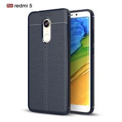 Luxury Auto Focus Litchi Texture Silicone TPU Back Cover for Mi Xiaomi Redmi 5 - Dark Blue