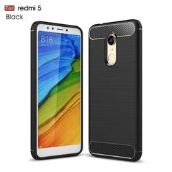 Luxury Carbon Fiber Brushed Wire Drawing Silicone TPU Back Cover for Mi Xiaomi Redmi 5 - Black