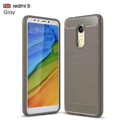 Luxury Carbon Fiber Brushed Wire Drawing Silicone TPU Back Cover for Mi Xiaomi Redmi 5 - Gray
