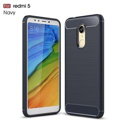 Luxury Carbon Fiber Brushed Wire Drawing Silicone TPU Back Cover for Mi Xiaomi Redmi 5 - Navy