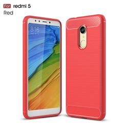 Luxury Carbon Fiber Brushed Wire Drawing Silicone TPU Back Cover for Mi Xiaomi Redmi 5 - Red