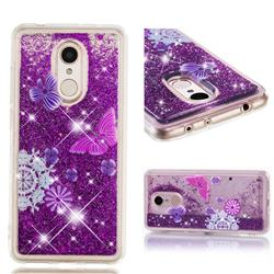 Purple Flower Butterfly Dynamic Liquid Glitter Quicksand Soft TPU Case for Mi Xiaomi Redmi 5
