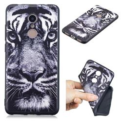 White Tiger 3D Embossed Relief Black TPU Cell Phone Back Cover for Mi Xiaomi Redmi 5