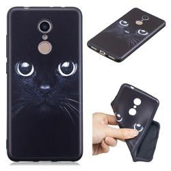 Bearded Feline 3D Embossed Relief Black TPU Cell Phone Back Cover for Mi Xiaomi Redmi 5