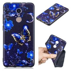 Phnom Penh Butterfly 3D Embossed Relief Black TPU Cell Phone Back Cover for Mi Xiaomi Redmi 5