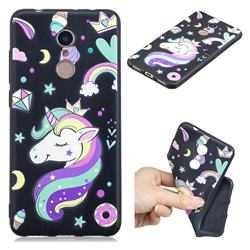 Candy Unicorn 3D Embossed Relief Black TPU Cell Phone Back Cover for Mi Xiaomi Redmi 5