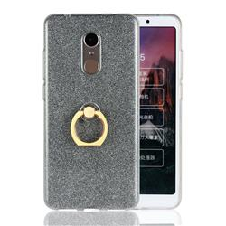 Luxury Soft TPU Glitter Back Ring Cover with 360 Rotate Finger Holder Buckle for Mi Xiaomi Redmi 5 - Black