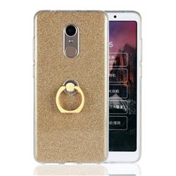 Luxury Soft TPU Glitter Back Ring Cover with 360 Rotate Finger Holder Buckle for Mi Xiaomi Redmi 5 - Golden