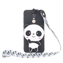 White Panda Neck Lanyard Zipper Wallet Silicone Case for Mi Xiaomi Redmi 5