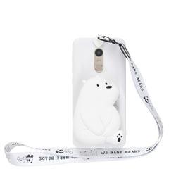 White Polar Bear Neck Lanyard Zipper Wallet Silicone Case for Mi Xiaomi Redmi 5